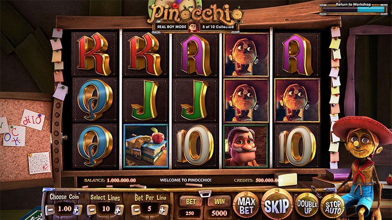 Pinocchio video slot classroom