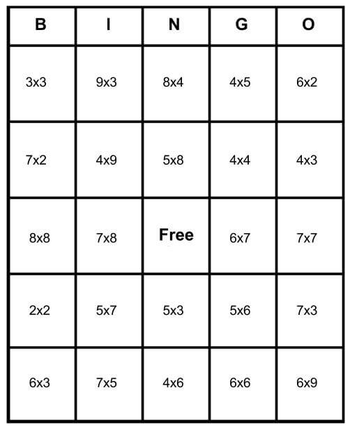 multiplication math bingo card pdf