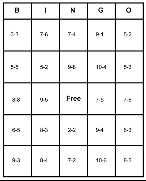 Subtraction Subtraction Bingo Worksheet Free Math Worksheets – Math Bingo Worksheets