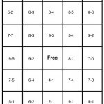 math bingo card - subtraction - 4