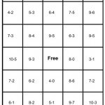 math bingo card - subtraction - 5